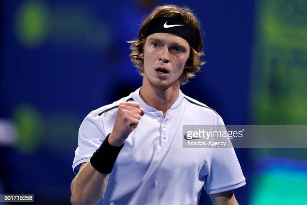 Andrey Rublev of Russia in action against Guido Pella of Argentina during the Qatar ExxonMobil Open 2018 Tennis Tournament organised by Association...