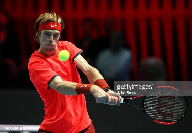 Andrey Rublev of Russia in action against Jaume Munar of Spain in the 3rd/4th match during Day Five of the Next Gen ATP Finals at Fiera Milano Rho on...