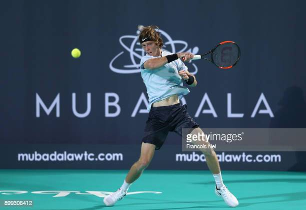 Andrey Rublev of Russia in action against Roberto Bautista Agut of Spain during his men's singles match on day one of the Mubadala World Tennis...