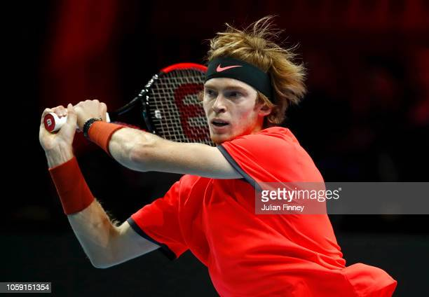 Andrey Rublev of Russia in action during his group match against Liam Caruana of Italy during Day Three of the Next Gen ATP Finals at Fiera Milano...