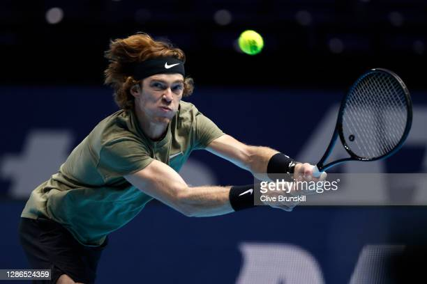 Andrey Rublev of Russia in action during his match against Dominic Thiem of Austria on Day 5 of the Nitto ATP World Tour Finals at The O2 Arena on...
