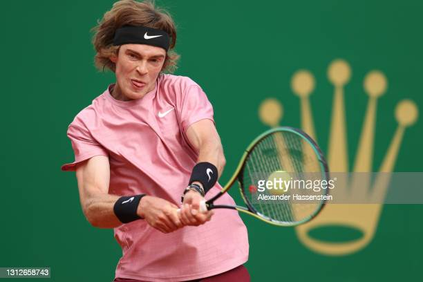 Andrey Rublev of Russia in action during his quarterfinal match against Roberto Bautista Agut of Spain during day five of the Rolex Monte-Carlo...