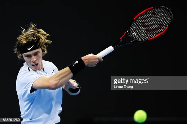 Andrey Rublev of Russia in action during the Men's singles Quarterfinals match against Alexander Zverev of Germany on day seven of 2017 China Open at...
