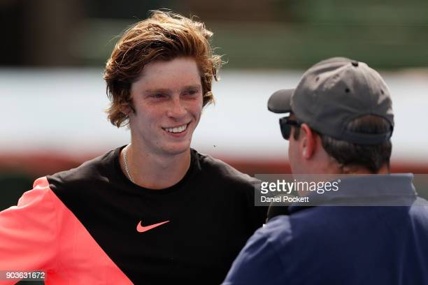 Andrey Rublev of Russia is interviewed after defeating Lucas Pouille of France during day three of the 2018 Kooyong Classic at Kooyong on January 11...