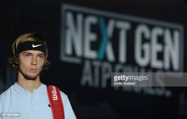 Andrey Rublev of Russia looks on prior to the match against Hyeon Chung of South Korea during the mens final on day 5 of the Next Gen ATP Finals on...