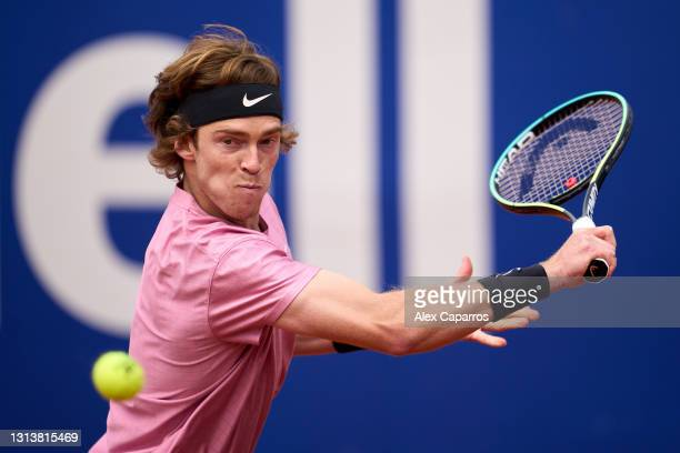 Andrey Rublev of Russia plays a backhand against Albert Ramos-Vinolas of Spain in their third round match during day four of the Barcelona Open Banc...