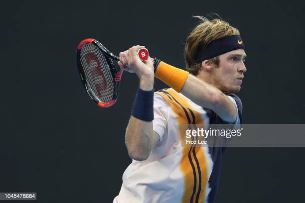 Andrey Rublev of Russia plays a backhand against Fabio Fognini of Italy during their men's Singles 2nd Round match of the 2018 China Open at the...