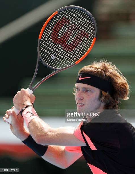 Andrey Rublev of Russia plays a backhand against Lucas Pouille of France during day three of the 2018 Kooyong Classic at Kooyong on January 11 2018...
