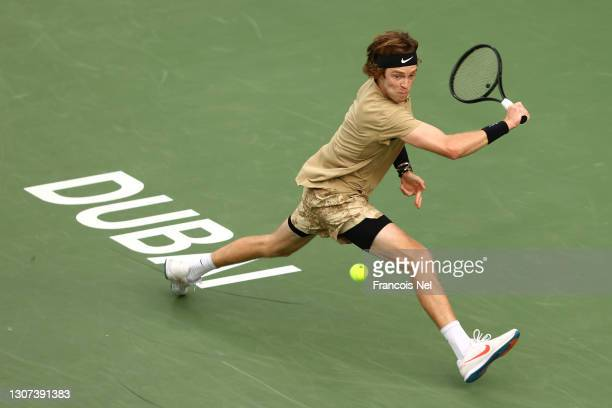 Andrey Rublev of Russia plays a backhand during his singles match against Emil Ruusuvuori of Finland during Day Ten of the Dubai Duty Free Tennis at...
