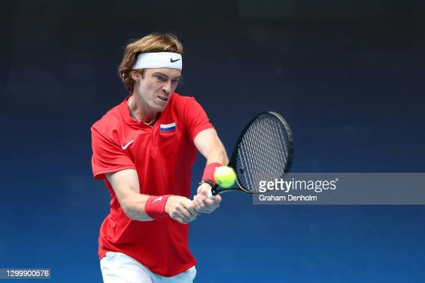 Andrey Rublev of Russia plays a backhand in his Group D singles match against Guido Pella of Argentina during day one of the 2021 ATP Cup at John...