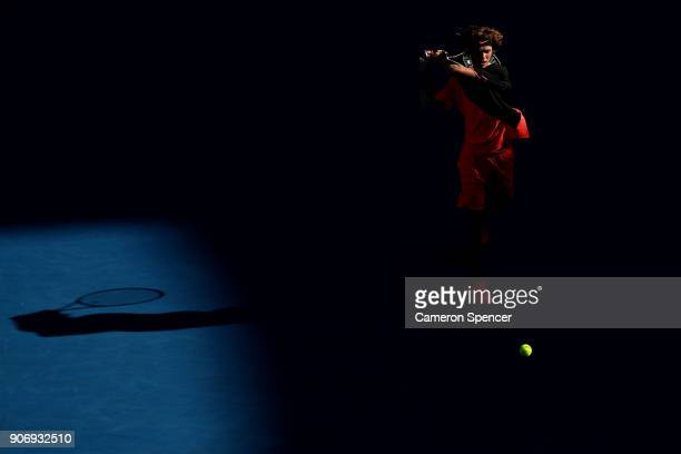 Andrey Rublev of Russia plays a backhand in his third round match against Grigor Dimitrov of Bulgaria on day five of the 2018 Australian Open at...