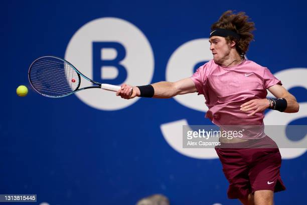 Andrey Rublev of Russia plays a forehand against Albert Ramos-Vinolas of Spain in their third round match during day four of the Barcelona Open Banc...