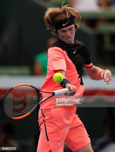 Andrey Rublev of Russia plays a forehand against Lucas Pouille of France during day three of the 2018 Kooyong Classic at Kooyong on January 11 2018...