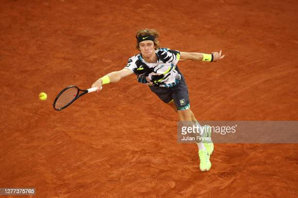 Andrey Rublev of Russia plays a forehand during his Men's Singles first round match against Sam Querrey of the United States on day three of the 2020...