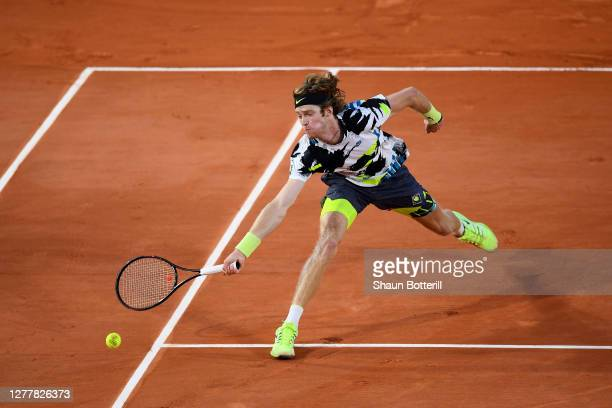 Andrey Rublev of Russia plays a forehand during his Men's Singles second round match against Alejandro Davidovich Fokina of Spain on day five of the...