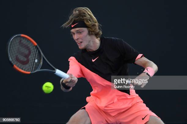 Andrey Rublev of Russia plays a forehand in his second round match against Marcos Baghdatis of Cyprus on day three of the 2018 Australian Open at...