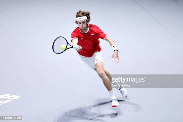 Andrey Rublev of Russia plays a forehand in his semi final singles match against Vasek Pospisil of Canada during Day Six of the 2019 Davis Cup at La...