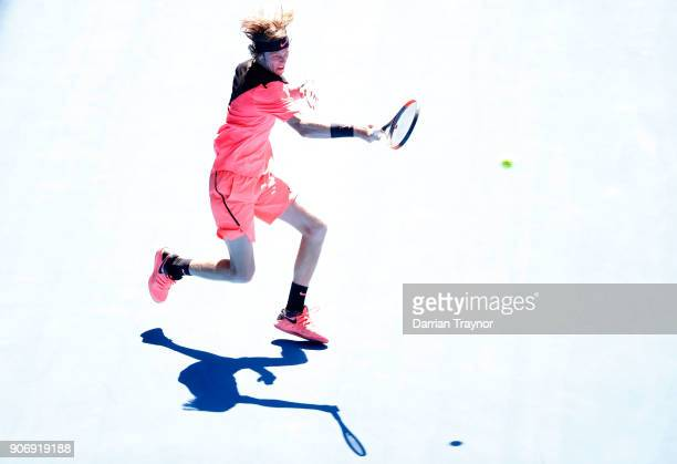 Andrey Rublev of Russia plays a forehand in his third round match against Grigor Dimitrov of Bulgaria on day five of the 2018 Australian Open at...