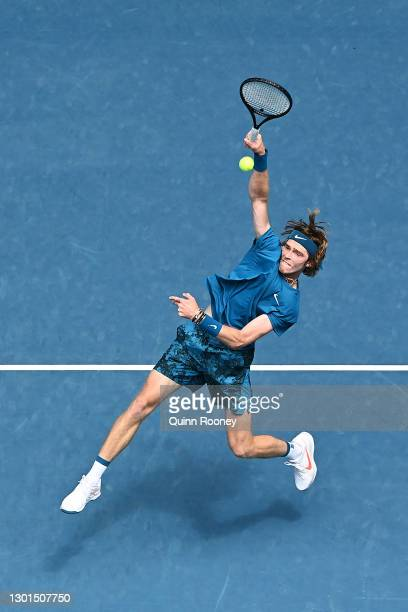 Andrey Rublev of Russia plays a forehand smash in his Men's Singles second round match against Thiago Monteiro of Brazil during day four of the 2021...