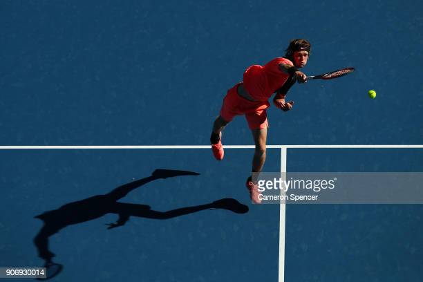 Andrey Rublev of Russia plays a forehand smash in his third round match against Grigor Dimitrov of Bulgaria on day five of the 2018 Australian Open...