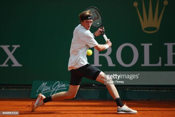 Andrey Rublev of Russia plays a shot in his match against Robin Haase of Holland during day two of ATP Masters Series Monte Carlo Rolex Masterat...