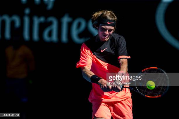 Andrey Rublev of Russia plays a shot in his third round match during the 2018 Australian Open on January 19 at Melbourne Park Tennis Centre in...
