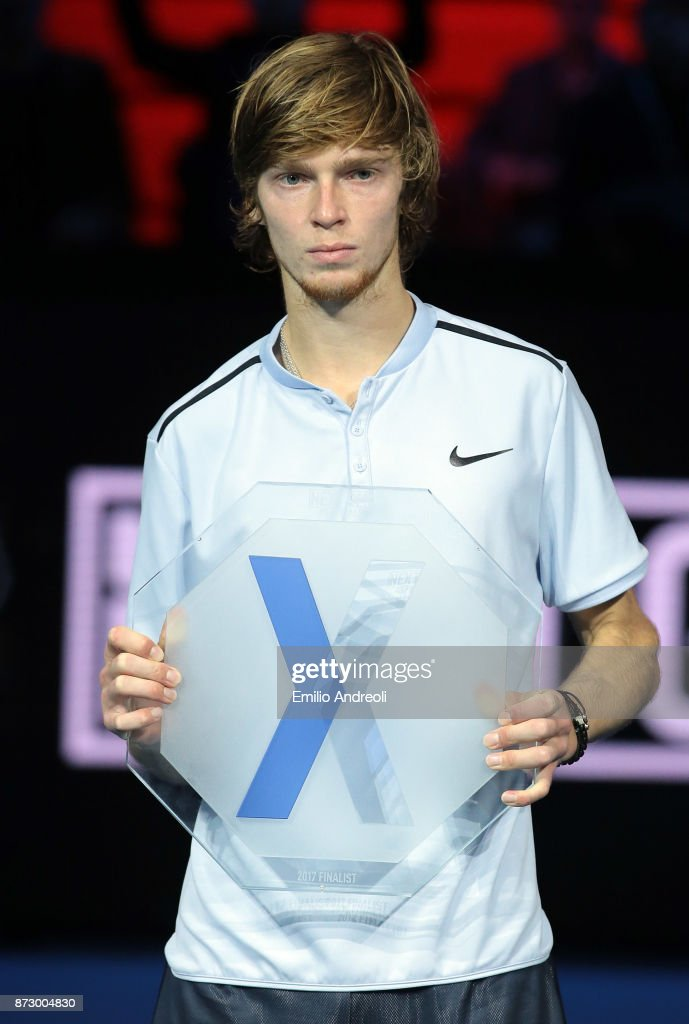 Andrey Rublev of Russia poses with the 2nd place trophy at the end of the mens final on day 5 of the Next Gen ATP Finals on November 11, 2017 in Milan, Italy.