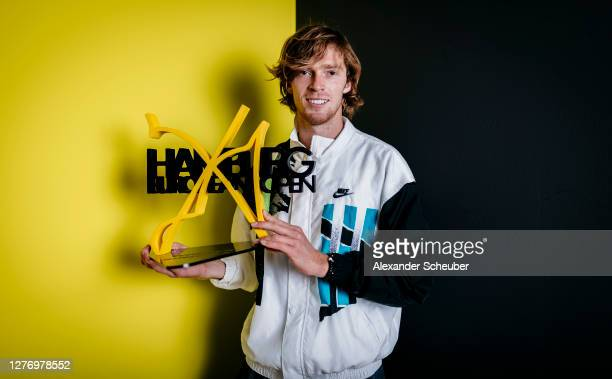 Andrey Rublev of Russia poses with the trophy after his victory during the final of the Hamburg Open 2020 at Rothenbaum on September 27, 2020 in...