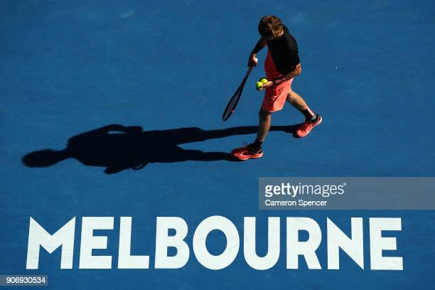 Andrey Rublev of Russia prepares to serve in his third round match against Grigor Dimitrov of Bulgaria on day five of the 2018 Australian Open at...