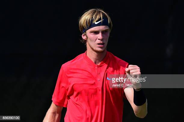 Andrey Rublev of Russia reacts after a point against Steve Darcis of Belgium during the third day of the WinstonSalem Open at Wake Forest University...