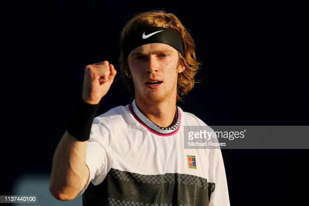 Andrey Rublev of Russia reacts after a point against Taro Daniel of Japan during Day 4 of the Miami Open Presented by Itau at Hard Rock Stadium on...
