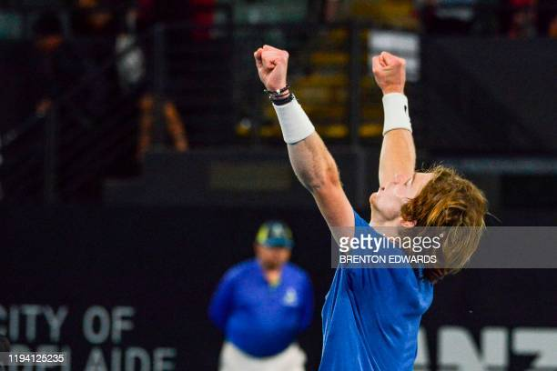 Andrey Rublev of Russia reacts after defeating Felix AugerAliassime of Canada during their men's semifinal singles match at the Adelaide...