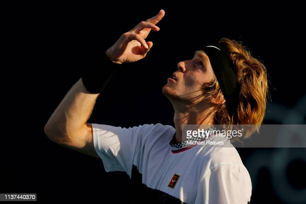 Andrey Rublev of Russia reacts after defeating Taro Daniel of Japan during Day 4 of the Miami Open Presented by Itau at Hard Rock Stadium on March 21...