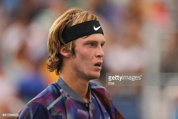 Andrey Rublev of Russia reacts against Grigor Dimitrov of Bulgaria during their second round Men's Singles match on Day Four of the 2017 US Open at...