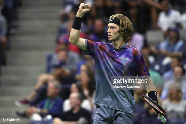 Andrey Rublev of Russia reacts against Rafael Nadal of Spain during their Men's Singles Quarterfinal match on Day Ten of the 2017 US Open at the USTA...