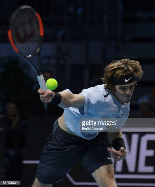 Andrey Rublev of Russia reacts in his match against Hyeon Chung of South Korea during the mens final on day 5 of the Next Gen ATP Finals on November...