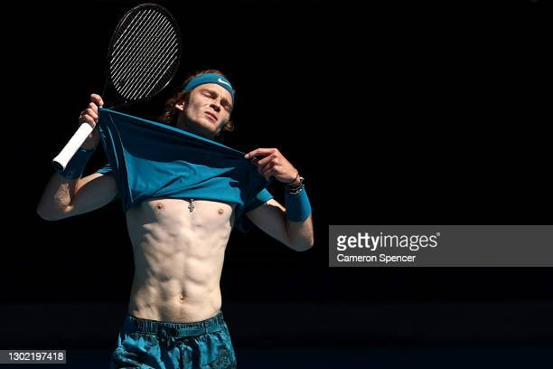 Andrey Rublev of Russia reacts in his Men's Singles fourth round match against Casper Ruud of Norway during day eight of the 2021 Australian Open at...