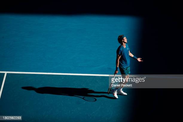 Andrey Rublev of Russia reacts in his Men's Singles Quarterfinals match against Daniil Medvedev of Russia during day 10 of the 2021 Australian Open...
