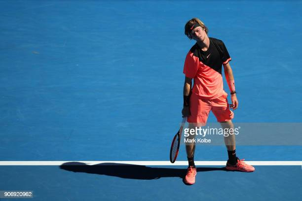 Andrey Rublev of Russia reacts in his third round match against Grigor Dimitrov of Bulgaria on day five of the 2018 Australian Open at Melbourne Park...