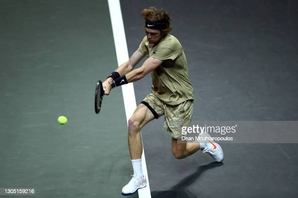Andrey Rublev of Russia returns a backhand in his match against Andy Murray of Great Britain during Day 3 of the 48th ABN AMRO World Tennis...