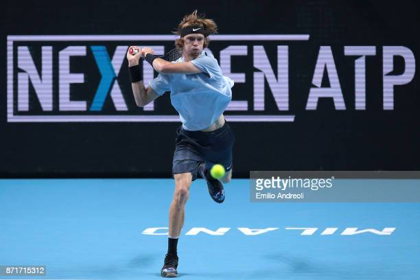 Andrey Rublev of Russia returns a backhand in his match against Hyeon Chung of South Korea during Day 2 of the Next Gen ATP Finals on November 8 2017...