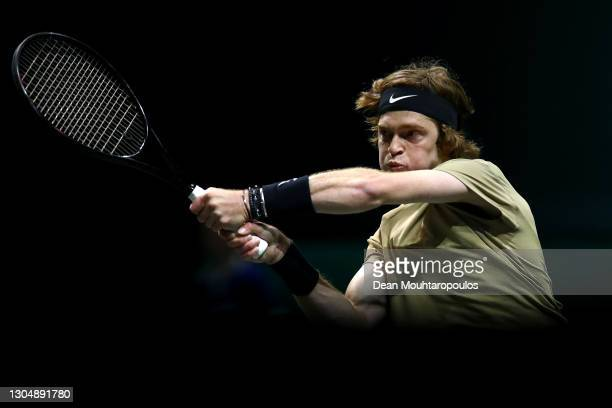Andrey Rublev of Russia returns a backhand in his match against Marcos Giron of USA during Day 2 of the 48th ABN AMRO World Tennis Tournament at Ahoy...