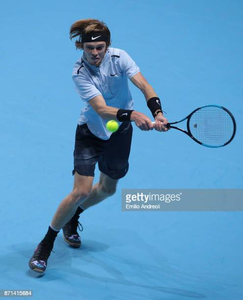 Andrey Rublev of Russia returns a backhand in his match against Gianluigi Quinzi of Italy during Day 1 of the Next Gen ATP Finals on November 7 2017...