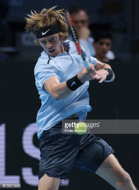 Andrey Rublev of Russia returns a forehand against Hyeon Chung of South Korea during the mens final on day 5 of the Next Gen ATP Finals on November...