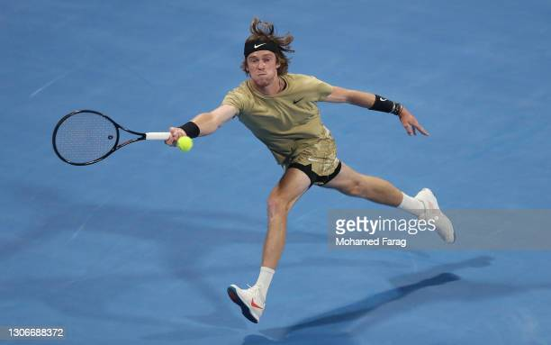 Andrey Rublev of Russia returns a forehand during the Semi-final match between Roberto Bautista Agut and Andrey Rublev on Day Five of the Qatar...