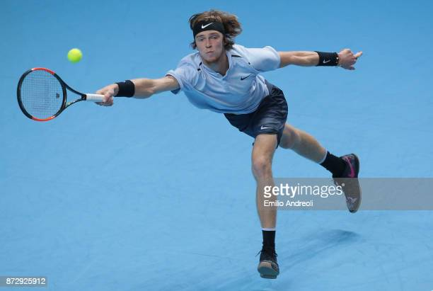 Andrey Rublev of Russia returns a forehand in his match against Hyeon Chung of South Korea during the mens final on day 5 of the Next Gen ATP Finals...
