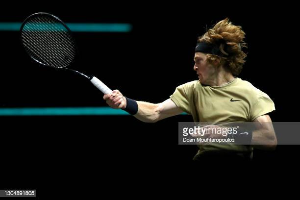 Andrey Rublev of Russia returns a forehand in his match against Marcos Giron of USA during Day 2 of the 48th ABN AMRO World Tennis Tournament at Ahoy...