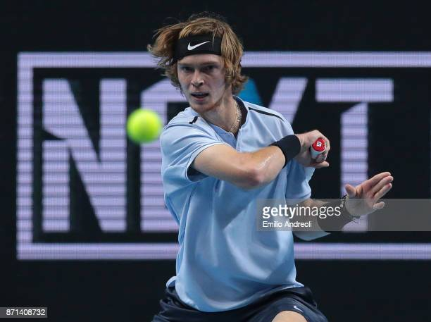 Andrey Rublev of Russia returns a forehand in his match against Gianluigi Quinzi of Italy during Day 1 of the Next Gen ATP Finals on November 7 2017...