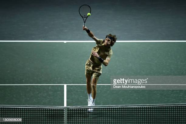 Andrey Rublev of Russia returns a overhead forehand smash in his match against Stefanos Tsitsipas of Greece during Day 6 of the 48th ABN AMRO World...