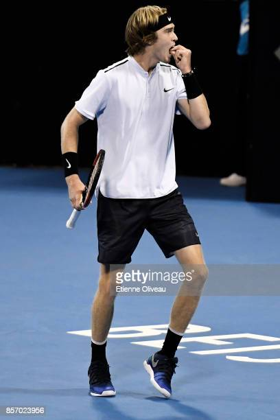 Andrey Rublev of Russia returns a shot against Jack Sock of the United States in his Men's Single First round match on day four of the 2017 China...